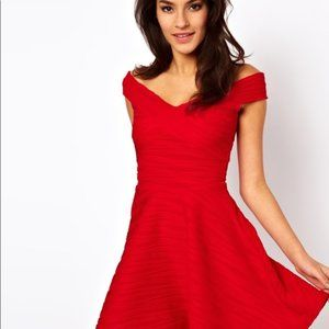 Asos LIttle Red Flare Ribbed Dress - US4